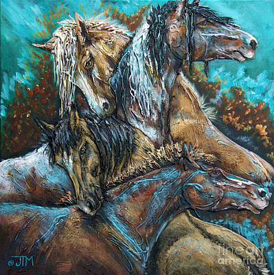 Mustang Painting - Too Be Like Me Be Four by Jonelle T McCoy