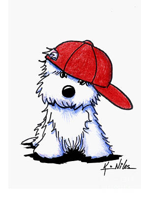 Westie Terrier Drawing - Too Cool For School by Kim Niles