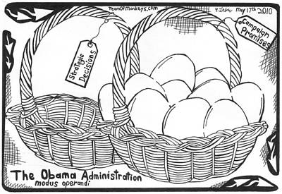 Obama Mixed Media - Too Many Eggs In One Basket By Yonatan Frimer by Yonatan Frimer Maze Artist