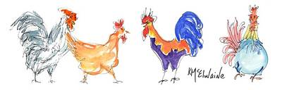 Painting - Too Many Roosters by Kathleen McElwaine