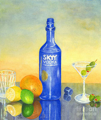 Martini Painting Royalty Free Images - Too Many Skies Royalty-Free Image by Karen Fleschler