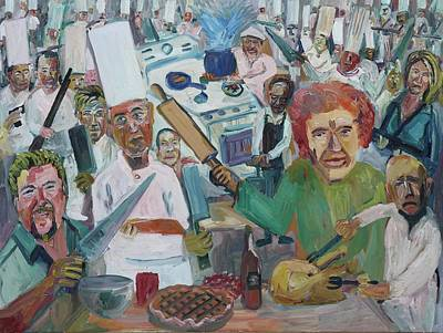 Julia Child Painting - Too Many Tv Chefs In The Kitchen by John Kilduff