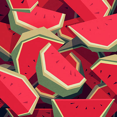Green Digital Art - Too Many Watermelons by Yetiland
