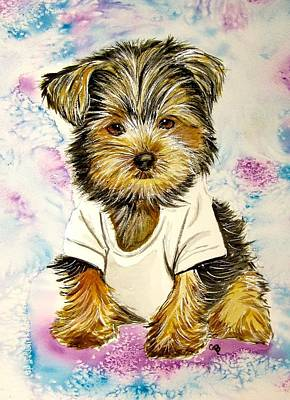 Yorkshire Terrier Watercolor Painting - Too Sexy For My Shirt by Carol Blackhurst