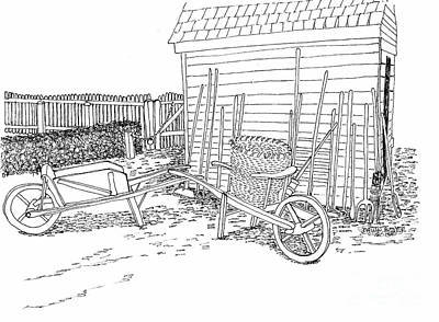 Williamsburg Color Drawing - Tools Along The Farmer's Market Shed by Dawn Boyer