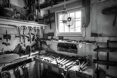 Photograph - Tools In The Shop Black And White by Debra and Dave Vanderlaan