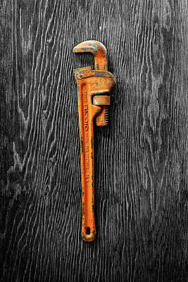 Superhero Photograph - Tools On Wood 60 On Bw by YoPedro