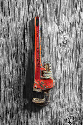 Photograph - Tools On Wood 70 On Bw by YoPedro