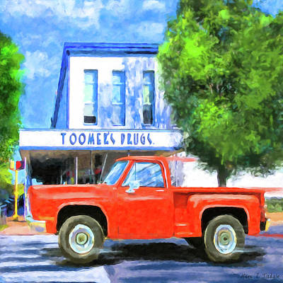 Mixed Media - Rushing By Toomer's Drugs - Auburn Landmark by Mark Tisdale