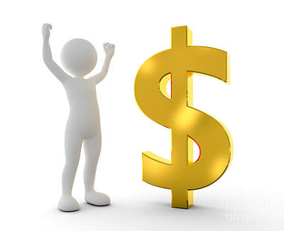 Finance Photograph - Toon Happy Man Raising Hand For A Win Next To Gold Dollar Symbol by Michal Bednarek