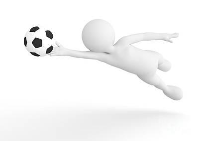 Saving Photograph - Toon Man Soccer Goalkeeper Saving The Ball From Goal. Football Concept. by Michal Bednarek