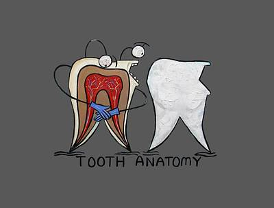 Knock Digital Art - Tooth Anatomy T-shirt by Anthony Falbo