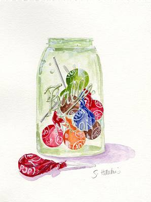 Candy Jar Painting - Tootsie Pop Jar by Sheryl Heatherly Hawkins