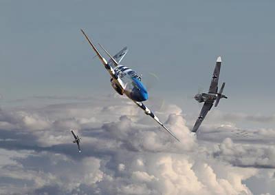 B17 Photograph - Top Gun - 1944 Version - P51 V Bf109g by Pat Speirs