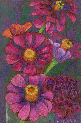 Drawing - Top Hat Zinnias by Anne Katzeff