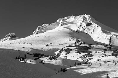 Photograph - Top Of Mt Hood In Black And White  by John McGraw