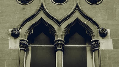 Photograph - Top Of Old English Window With Decorative Columns by Jacek Wojnarowski