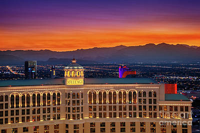Sunset Photograph - Top Of The Bellagio After Sunset by Aloha Art