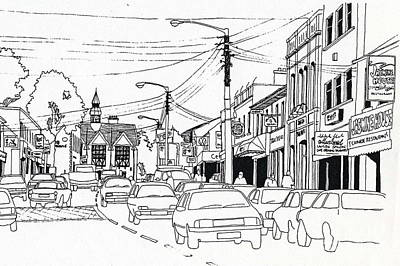Drawing - Top Of The Main St, Bray by Val Byrne