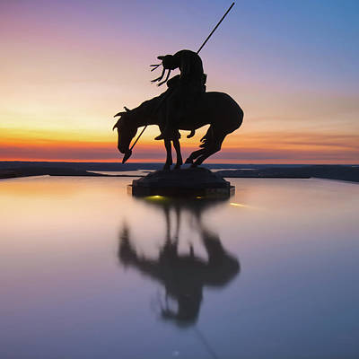 Photograph - Top Of The Rock Native American Statue Silhouette Reflections by Gregory Ballos