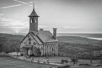 Photograph - Top Of The Rock Ozark Sunset In Black And White - Branson Mo by Gregory Ballos