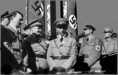 Goering Photograph - Top Ranking Nazis Hitler Goering Goebbels And Hess Circa 1939 Color Added 2016 by David Lee Guss