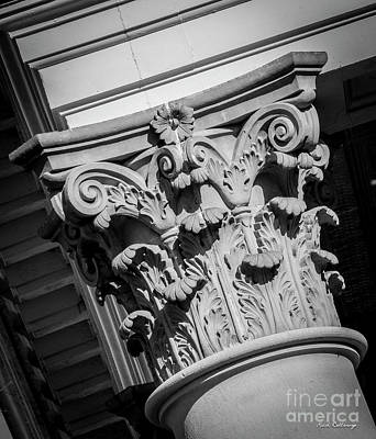 Photograph - Top Shelf Too B W Morgan County Court House Column Architecture Art by Reid Callaway