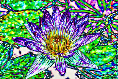 Top View Of A Beautiful Purple Lotus Art Print by Lanjee Chee