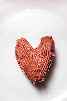 Top View Of Heart Shaped Chocolate Fudge Art Print
