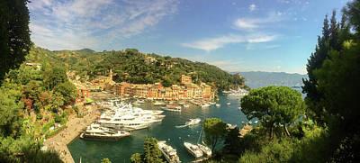 Portofino Harbour Photograph - Top View Of Portofino. Italy. by Gerlya Sunshine