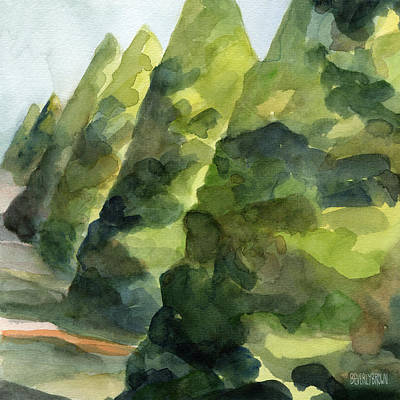 Abstract Landscape Painting - Topiary Parc St Cloud Watercolor Painting Of France by Beverly Brown Prints