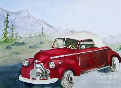 Painting - Topless 1940 Chevy by Penny Stroening