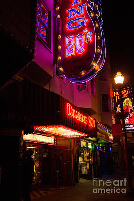 Topless Bar Signs At Night In North Beach San Francisco Art Print by Jason Rosette