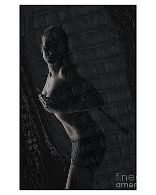 Photograph - Topless Girl Holding Her Breasts by Michael Edwards