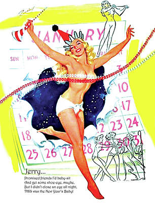 Topless Mixed Media - Topless Pin Up Woman Coming From A Calendar by Long Shot