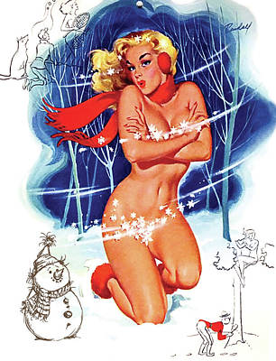 Topless Mixed Media - Topless Pin Up Woman On A Winter Freeze by Long Shot