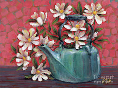 Teapot Painting - Topless With Daisies by Jane Bucci