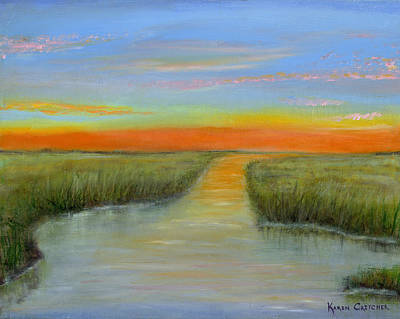Topsail Island Painting - Topsail Sound At Sunset by Karen Critcher