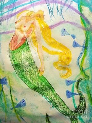 Topless Mermaid Art Print