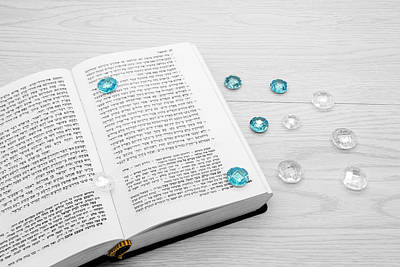 Photograph - Torah Book And Precious Stones by Nika Lerman