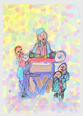 Mixed Media - Torah Reading by Michael A Klein