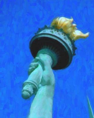 Statue Of Liberty At Night Painting - Torch Of Statue Of Liberty by Celestial Images