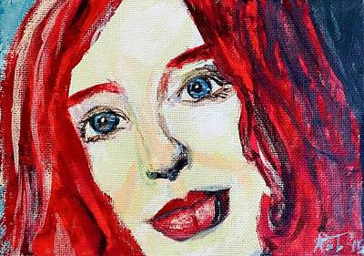 Tori Amos Red Art Print by Rachel  Trapp