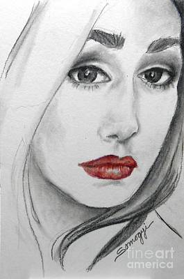 Drawing - Tori, At 19 -- Female Portrait by Jayne Somogy