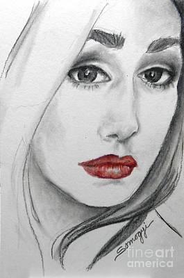Drawing - Tori, At 19 -- Female Portrait by Jayne Somogy