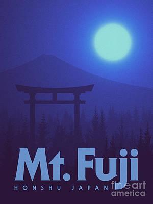 Torii Gate Japan - Blue Art Print