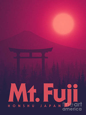 Torii Gate Japan - Magenta Art Print