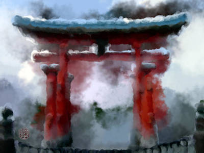 Painting - Torii by Geoffrey Lewis