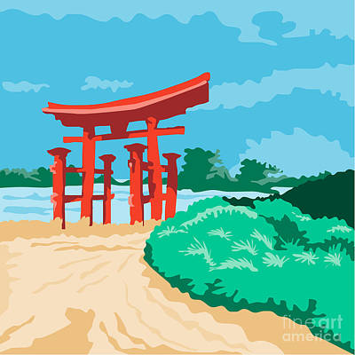 Public Administration Digital Art - Torii Japanese Gate Wpa by Aloysius Patrimonio