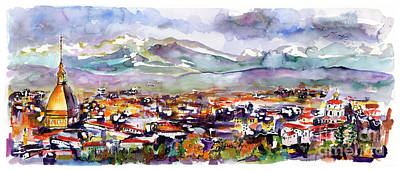 Painting - Torino Italy Cityscape Watercolor Painting by Ginette Callaway
